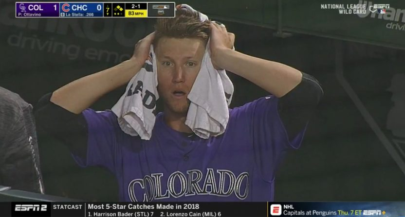 The Rockies got in trouble in the seventh thanks to catcher's interference, and pitcher Kyle Freeland was stunned.