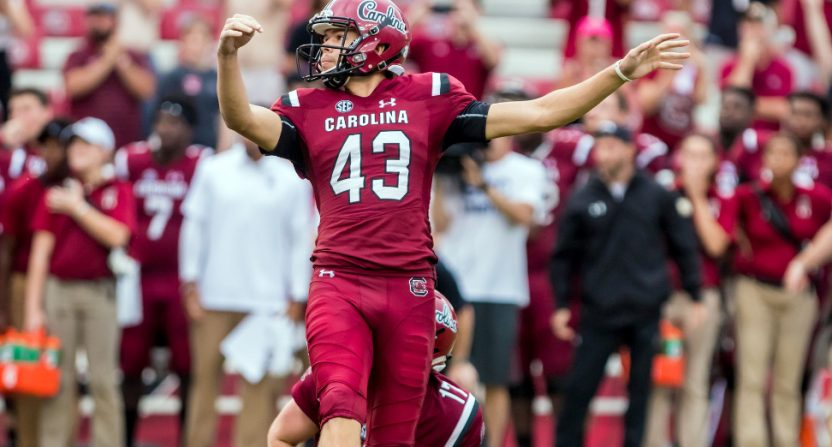 South Carolina kicker Parker White celebrates his game-winning FG.