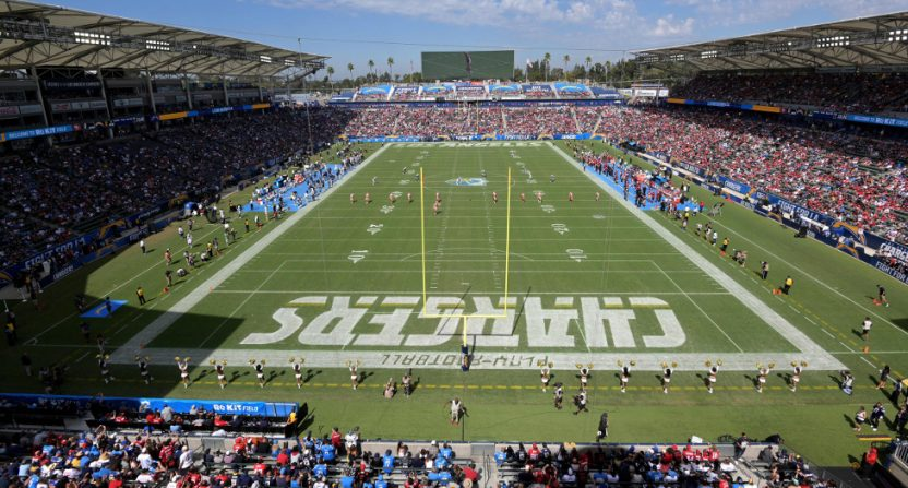 The Los Angeles Chargers - San Francisco 49ers game at StubHub Center Sept. 30.