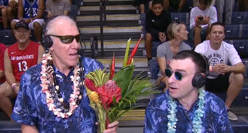 Bill Walton and Jason Benetti at the Maui Invitational.