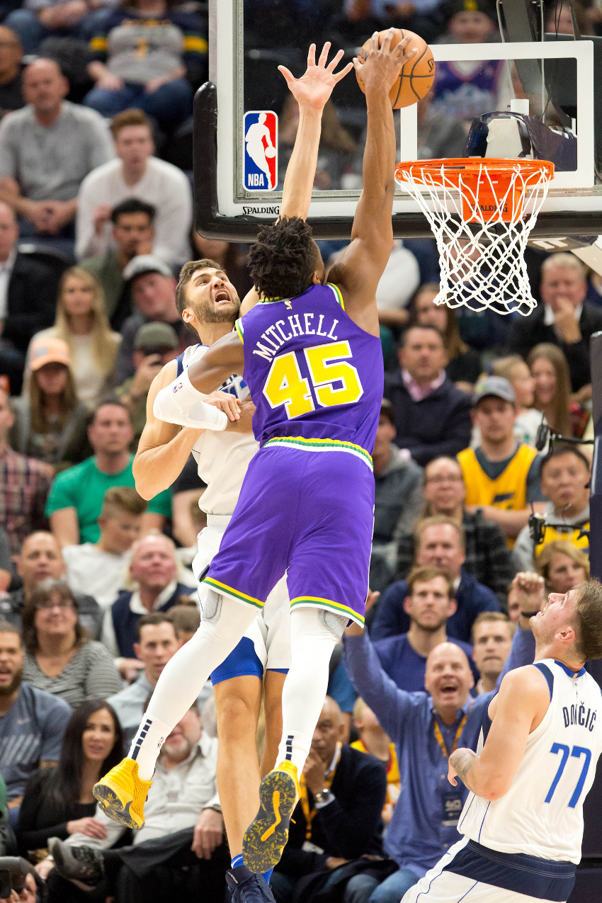 Donovan Mitchell's dunk on Maxi Kleber in full view.
