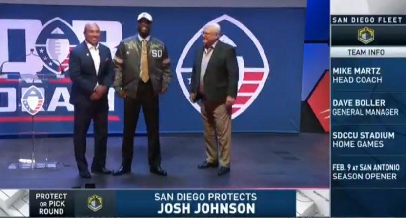 Josh Johnson at the AAF draft.