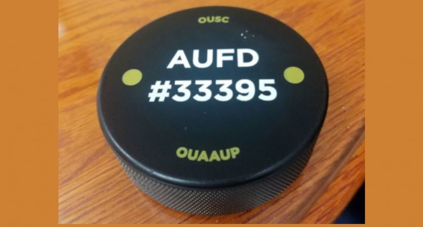 Hockey pucks distributed at Oakland University for active shooter situations.
