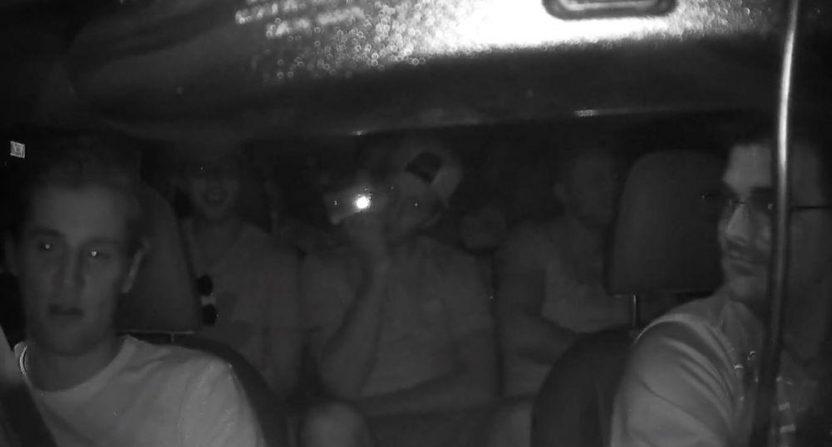 Senators' players in an Uber.