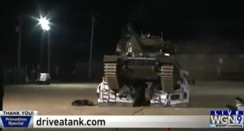 WGN crushing news vans with a tank.