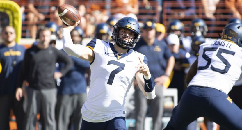 West Virginia QB Will Grier against Texas.