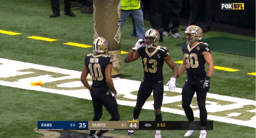 finest selection 57b37 fcf71 Saints WR Michael Thomas busts out the Joe Horn cell phone ...