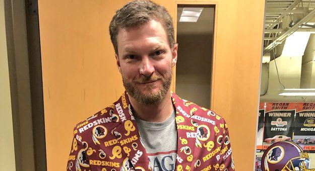 Dale Earnhardt Jr. in a Redskins' jacket.
