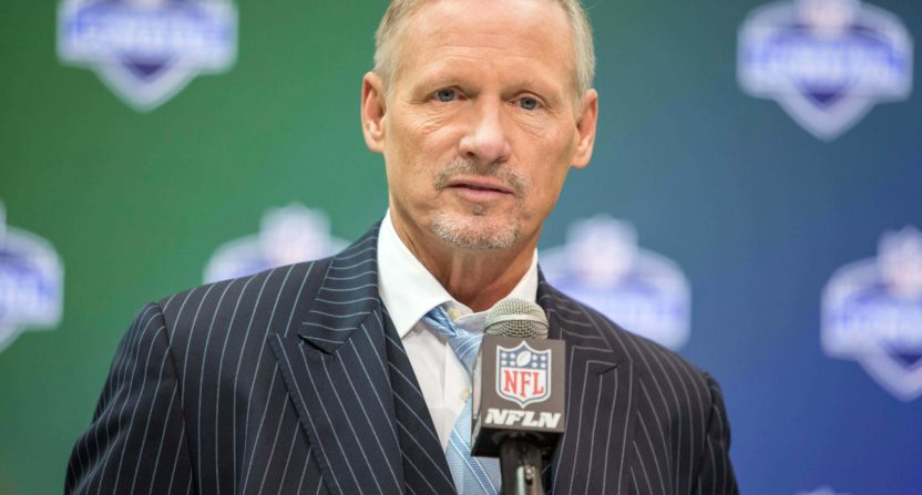 Mike Mayock at the 2017 NFL draft combine.