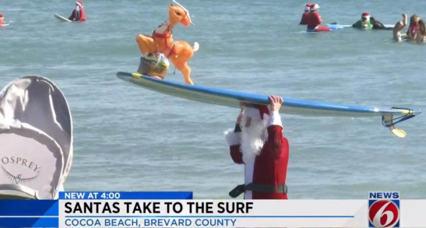 Surfing Santas in Florida.