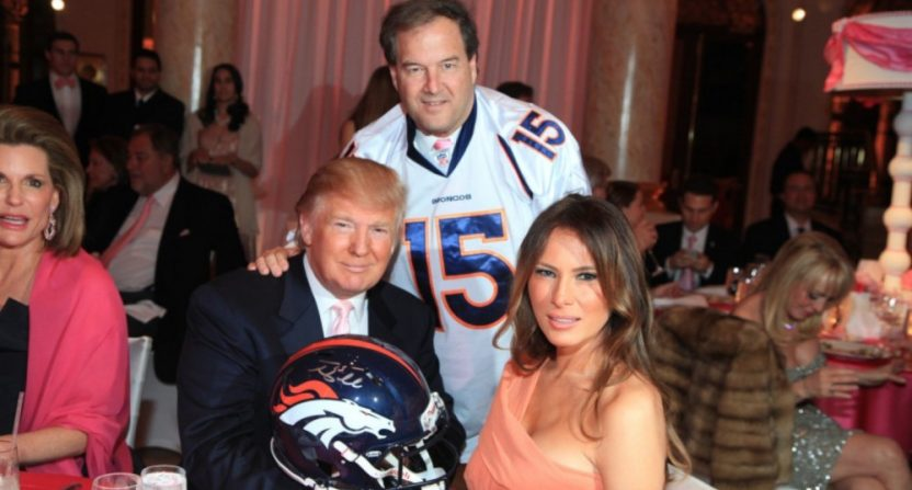 Donald Trump buying a Tim Tebow helmet in 2012.