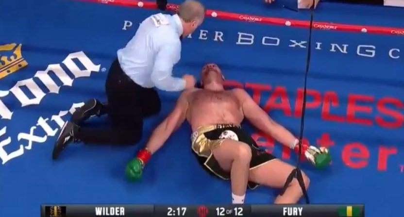 Tyson Fury got knocked down, but then got back up again.