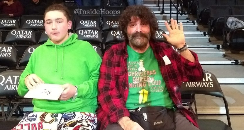 Mick Foley at a Nets' game.