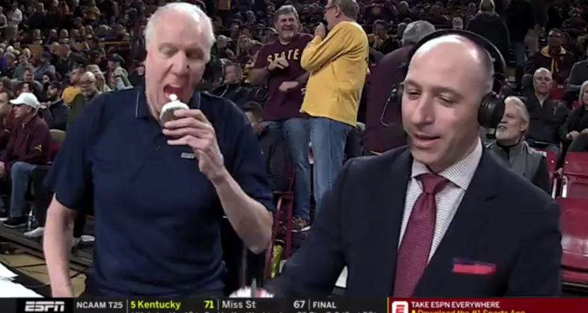 Bill Walton eating a lit candle.