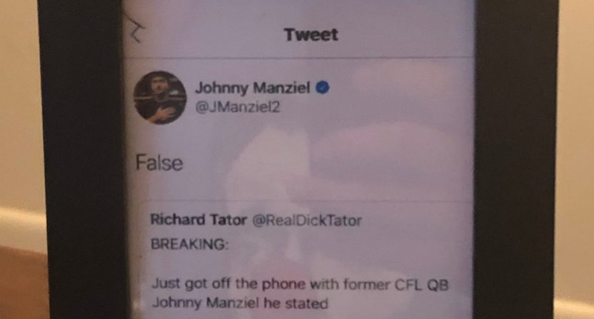 """Dick Tator"" is not an ESPN reporter. The account got called out by Johnny Manziel, then framed that tweet."