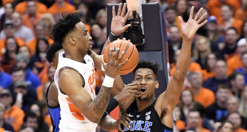 Syracuse's Oshae Brissett against Duke's Javin DeLaurier.