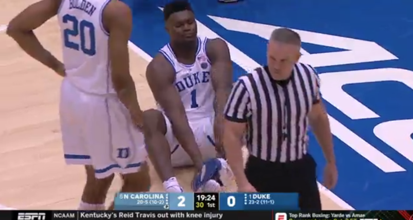 Zion Williamson after stepping through his shoe.