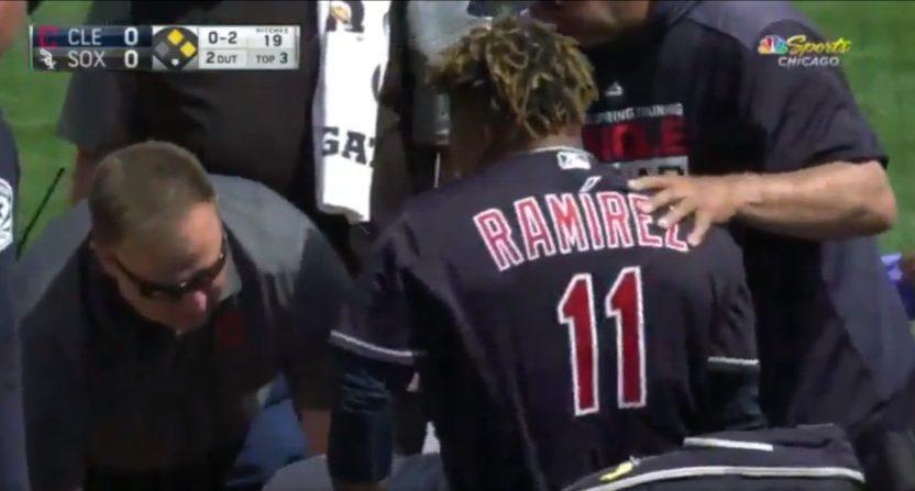 José Ramírez being carted off after an injury.
