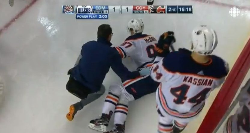 Connor McDavid was helped off after an injury Saturday.