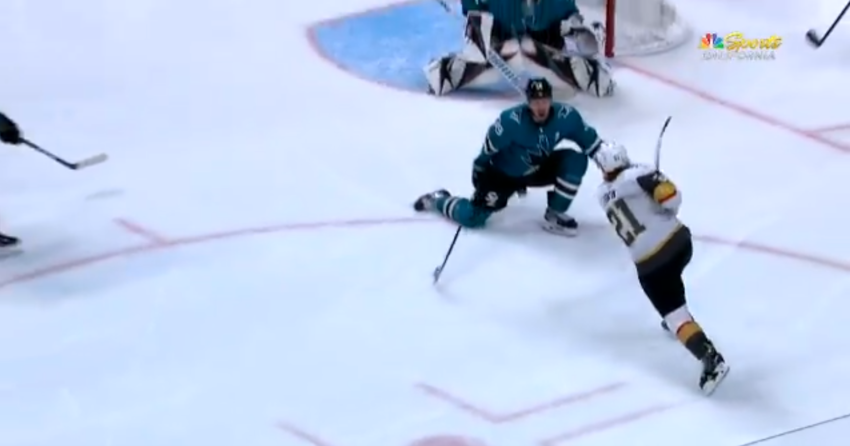 Logan Couture taking a puck in the groin.