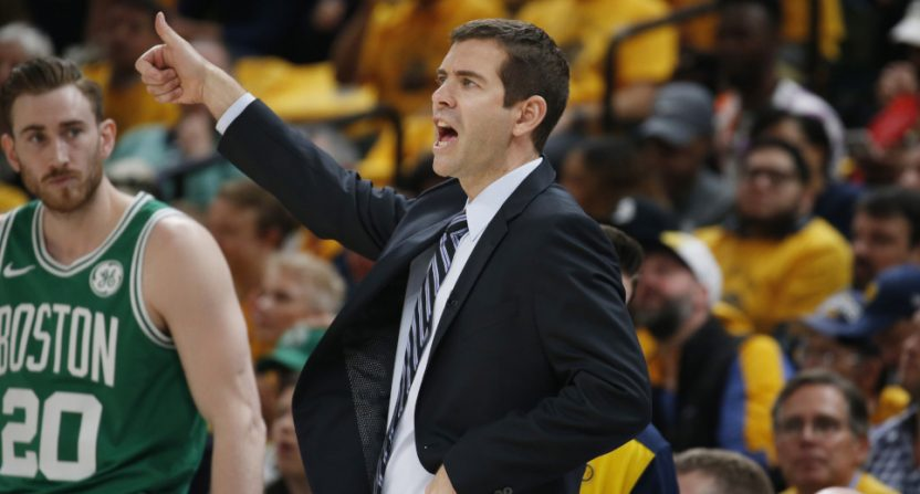 Gordon Hayward and Brad Stevens in the Celtics' April 21 win over the Pacers.