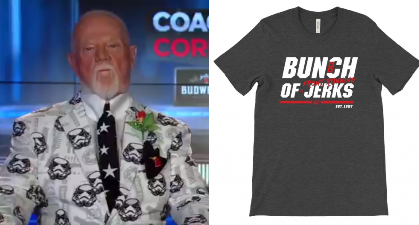 Don Cherry and the latest Hurricanes' shirt spawned by his comments.