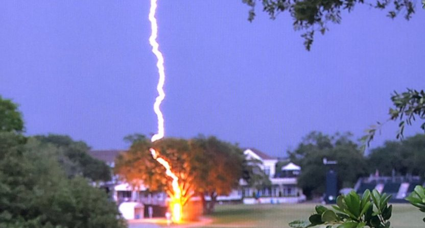 The U.S. Women's Open saw lightning hit a tree near the 18th green.