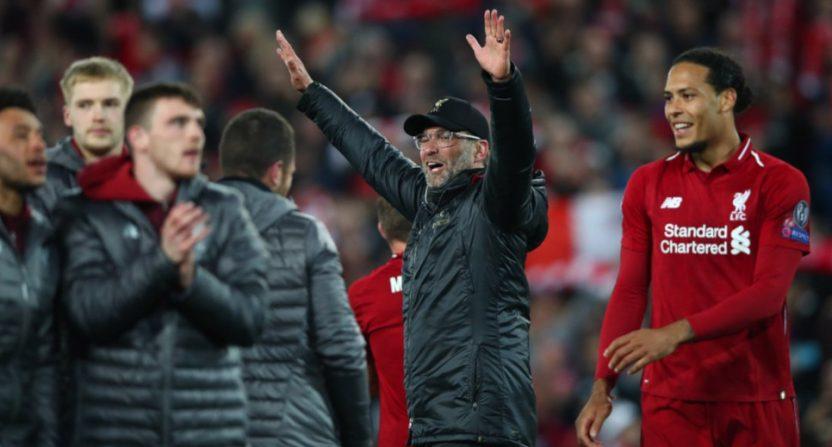 Liverpool celebrating a Champions League semifinal win.