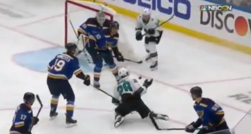The Blues lost after this hand pass by the Sharks.
