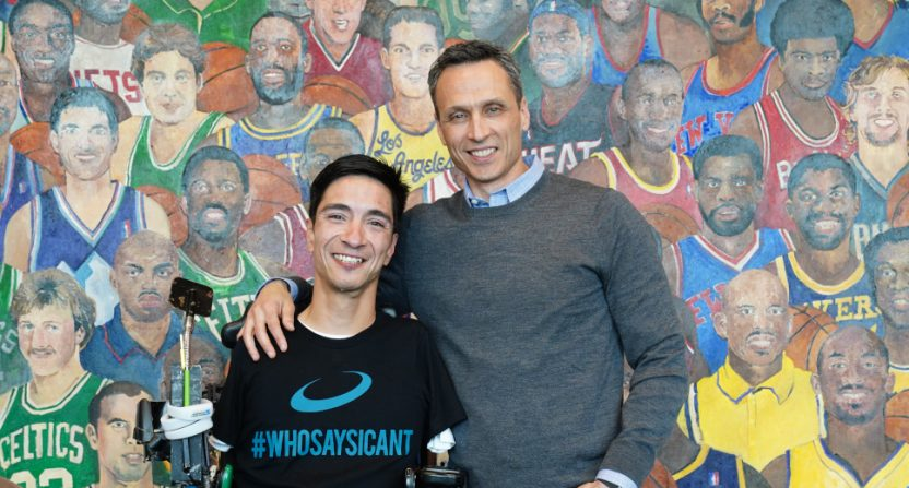Rob Mendez and Jimmy Pitaro (photo by Melissa Rawlins/ESPN Images).