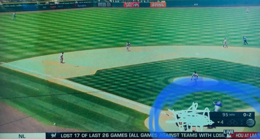 The Rockies' announcers scribbled out the score July 15 against the Giants.