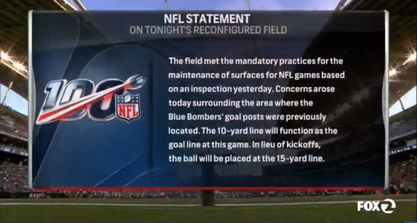 A NFL statement on the field in Winnipeg.