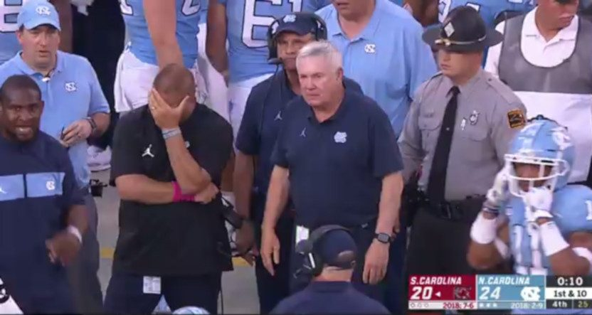 Mack Brown had a strange fourth-down kneel in his return to the sidelines, causing some facepalms, but it worked out for UNC.