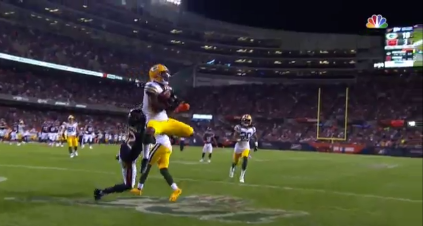 Adrian Amos had a huge interception for the Packers Thursday.