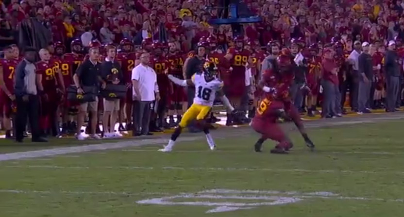 Iowa State players collided on a crucial punt return Saturday, letting Iowa clinch the win.