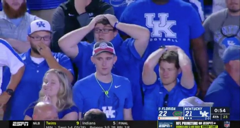 Kentucky fans react to their missed late field goal against Florida.
