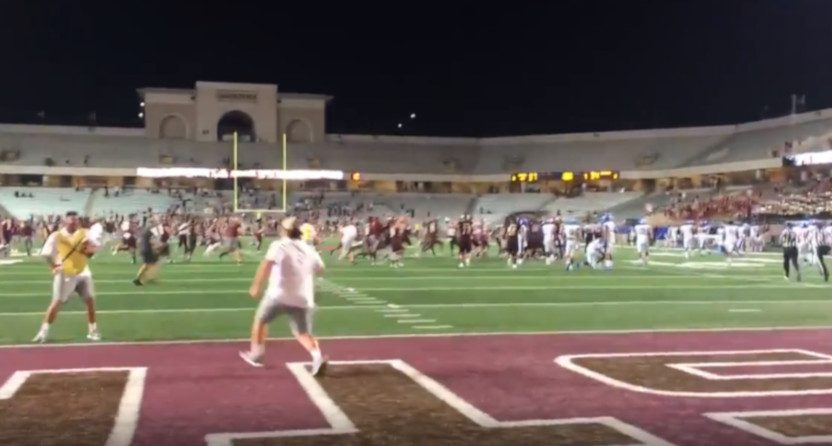 Texas State celebrating a win over Georgia State Saturday.