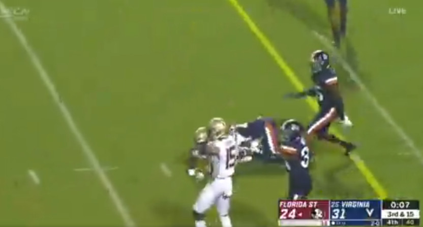 The clock kept running for three seconds after a Florida State player was down Saturday.