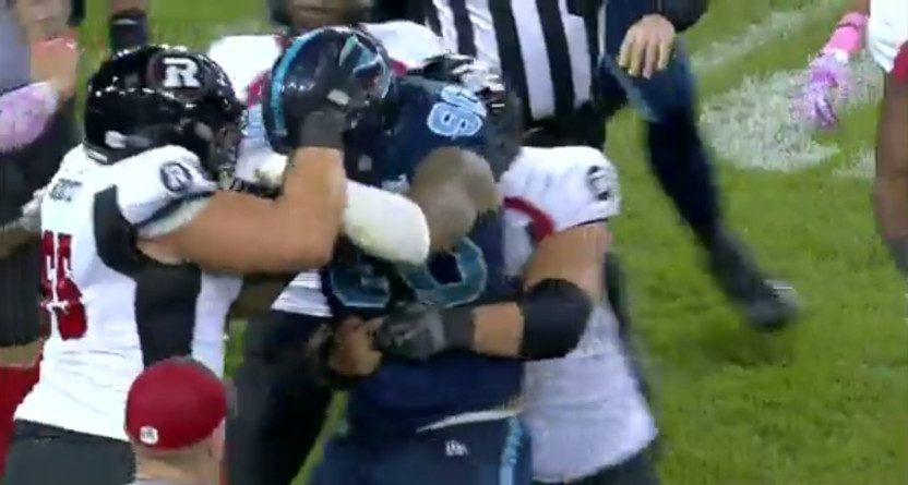 A CFL fight broke out Friday between the Redblacks and Argos.
