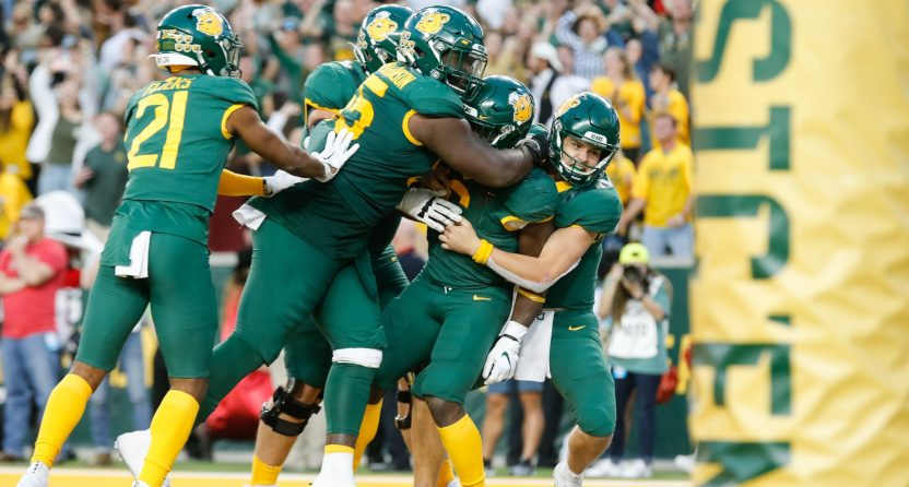 Baylor celebrating a win against Texas Tech.