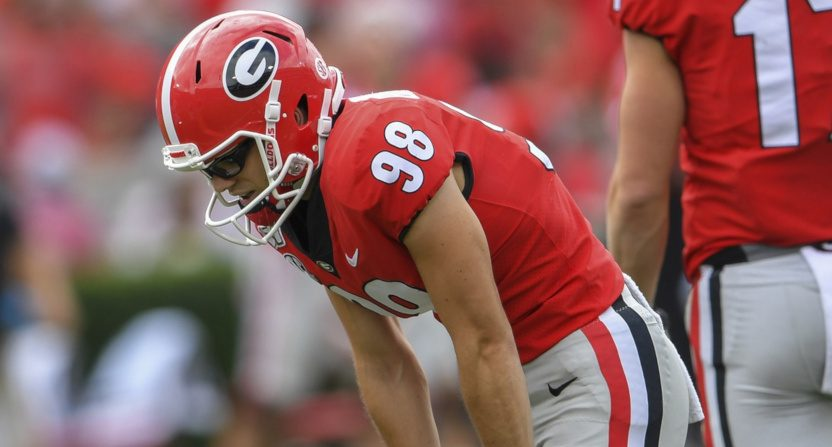 Georgia kicker Rodrigo Blankenship after a miss against South Carolina.