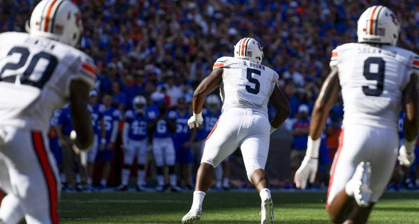 Derrick Brown with a fumble recovery for Auburn against Florida.
