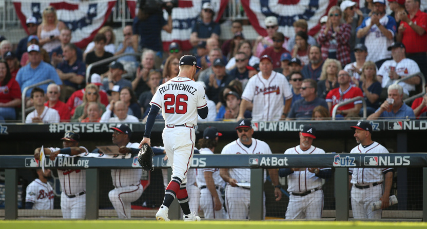 The Braves gave up 10 first-inning runs against the Cardinals, with seven (six earned) charged to starter Mike Foltynewicz.