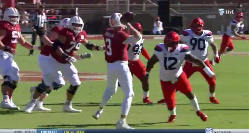 K.J. Costello with a dual-pass attempt against Arizona.