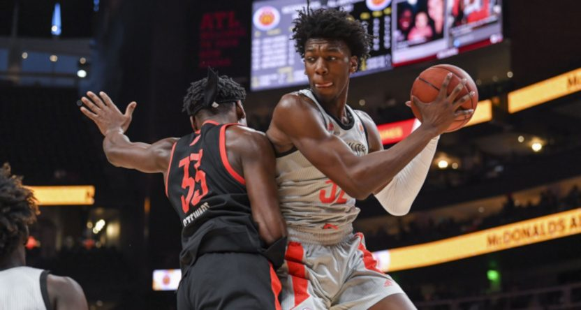 James Wiseman (R) during the McDonald's All-American Game in 2019.