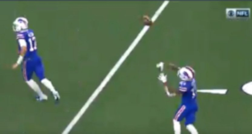 Bills' WR John Brown threw this touchdown pass on a trick play Thursday.
