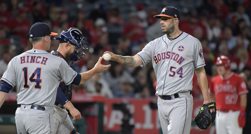 Mike Fiers with the Astros in Sept. 2017.