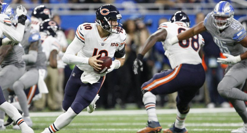 Chicago Bears' quarterback Mitch Trubisky had his only 300-yard game this season Thursday against the Lions.
