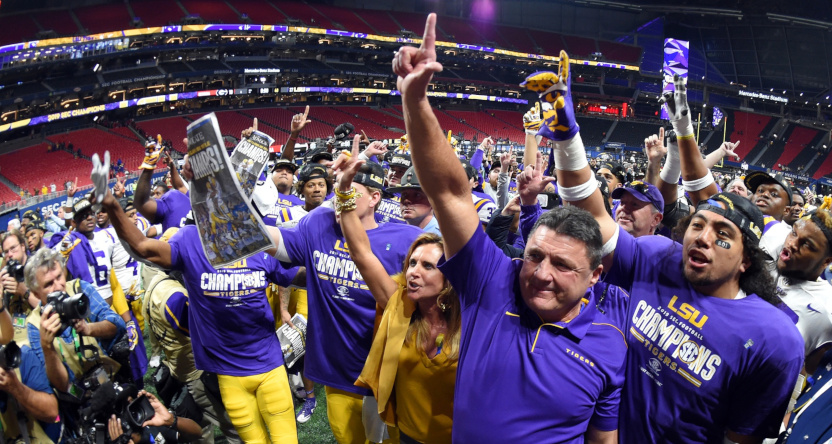 LSU coach Ed Orgeron after winning the 2019 SEC championship.
