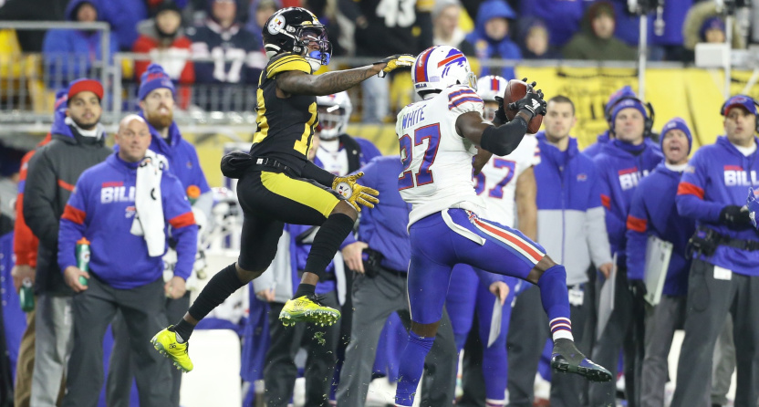 The Bills pulled off a win thanks to four interceptions, including this (one of two on the night) from Tre'Davious White.